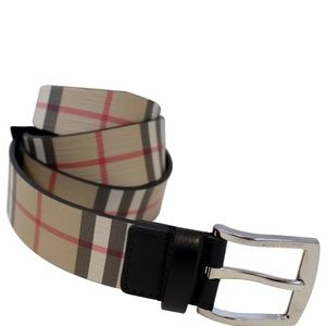 BURBERRY VINTAGE CHECK E-CANVAS LEATHER BELT BEIGE